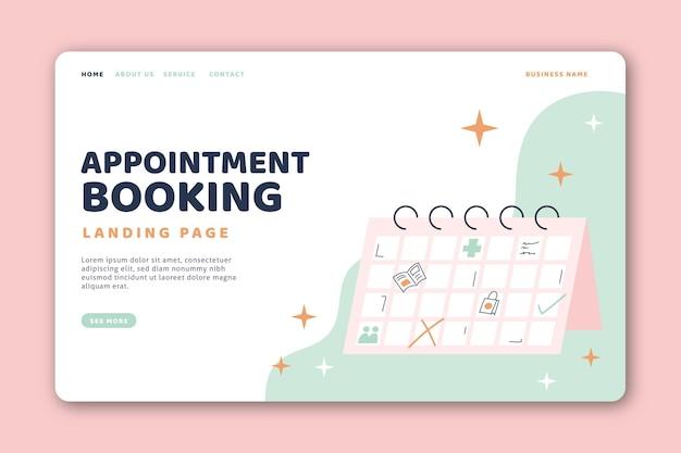 Page de destination et calendrier de réservation de rendez-vous