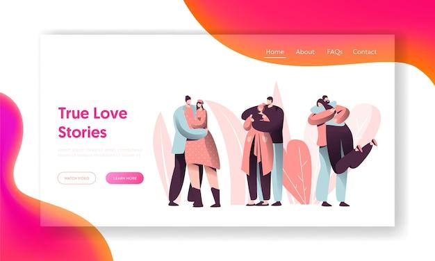 Page de destination de câlin de caractère de couple d'amour.