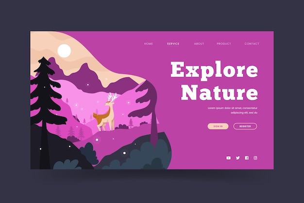 Page de destination de camping avec des cerfs