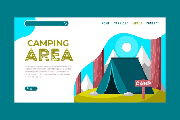 Page de destination de camping colorée