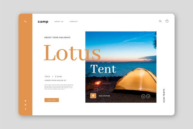Page de destination de camping avec photo
