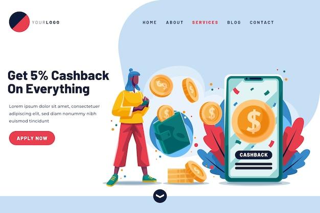 Page de destination de cashback avec des pièces