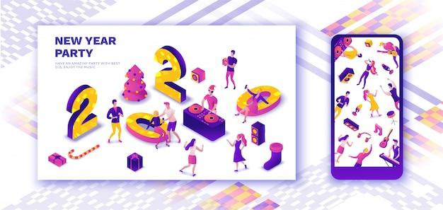 Page de destination de la célébration du nouvel an, histoires de médias sociaux