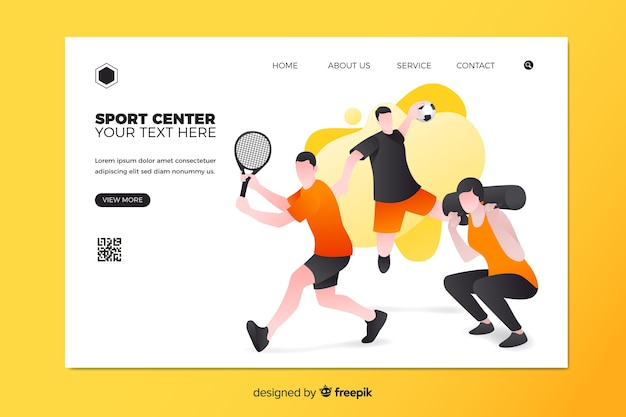 Page de destination centre sportif