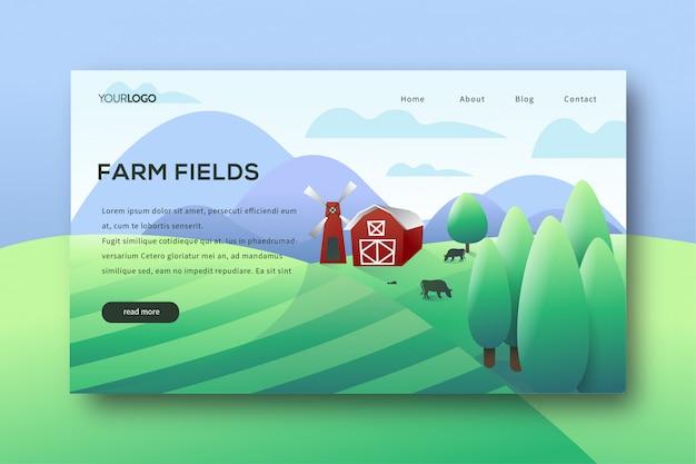 Page de destination des champs agricoles