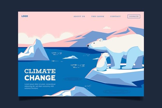 Page de destination sur le changement climatique au design plat dessiné à la main