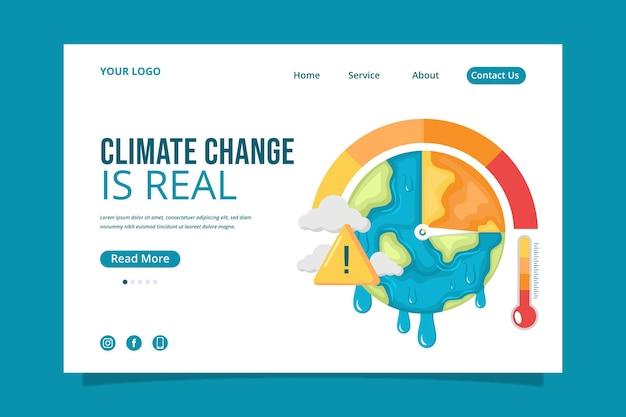 Page de destination sur le changement climatique au design plat