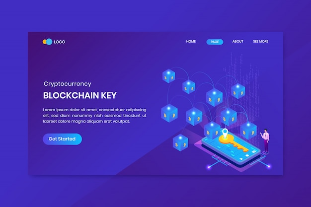 Page de destination de la clé de la chaîne de blocs bitcoin isométrique