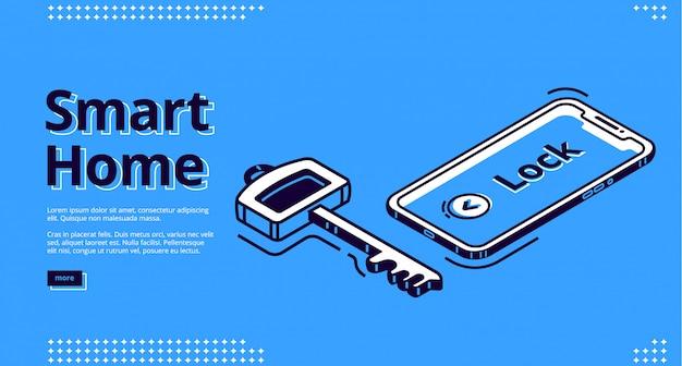 Page de destination de la clé de la maison intelligente, icône du téléphone mobile