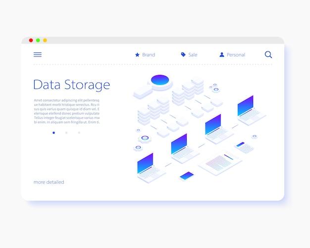 Page de destination cloud de stockage de données