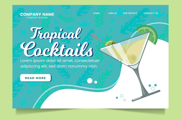 Page de destination des cocktails tropicaux