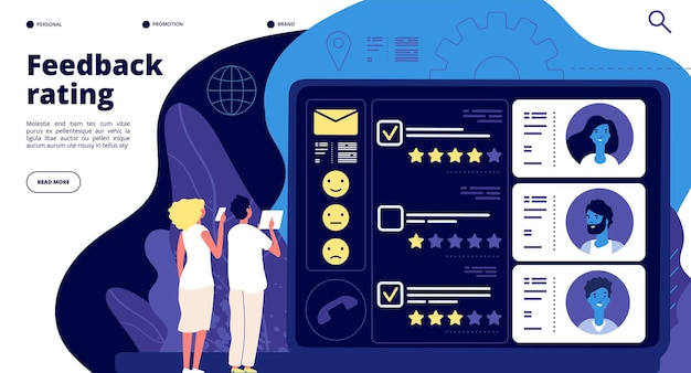 Page de destination des commentaires. revue de groupe de satisfaction client, support de notation d'opinions clients. concept de vecteur d'évaluation de la qualité du produit. examen des commentaires des clients d'illustration, évaluation positive