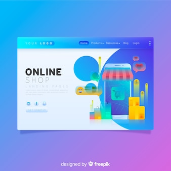 Page de destination commerciale colorée