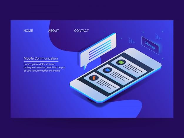 Page de destination de la communication mobile