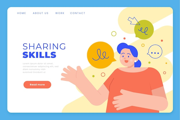 Page de destination des compétences de partage plat organique