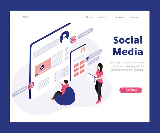 Page de destination. concept d'art isométrique du marketing des médias sociaux