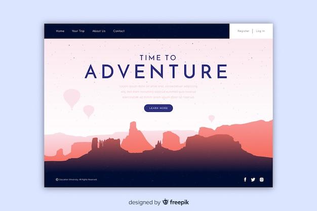 Page de destination concept aventure