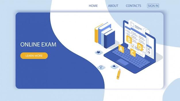Page de destination avec concept d'examen en ligne, tests en ligne.