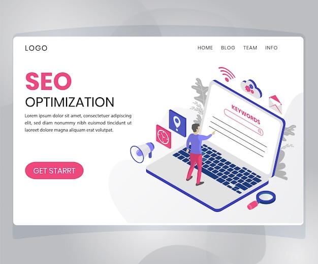 Page de destination. concept d'illustration isométrique de l'optimisation des moteurs de recherche