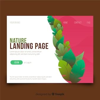 Page de destination avec le concept de nature