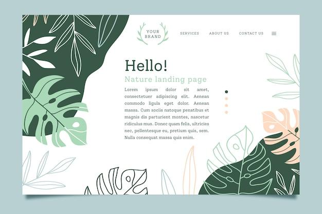Page de destination avec concept nature
