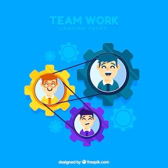 Page de destination de concept de travail d'équipe