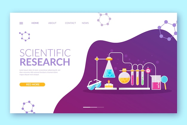 Page de destination avec la conception de la recherche scientifique