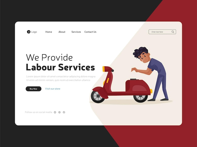 Page de destination de la conception de services de main-d'œuvre