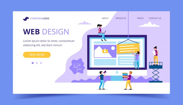Page de destination de conception web - illustration avec de petites personnes effectuant diverses tâches, grand moniteur avec un site web.