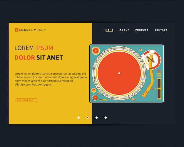 Page de destination des concepts musicaux pour le développement de sites web et de mobiles