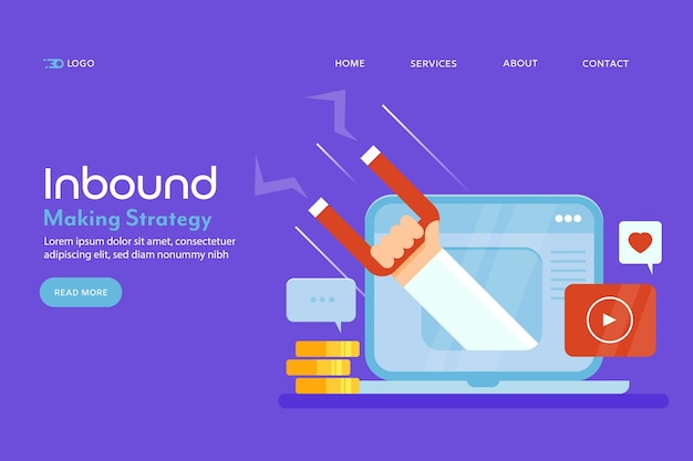 Page de destination conceptuelle du marketing entrant