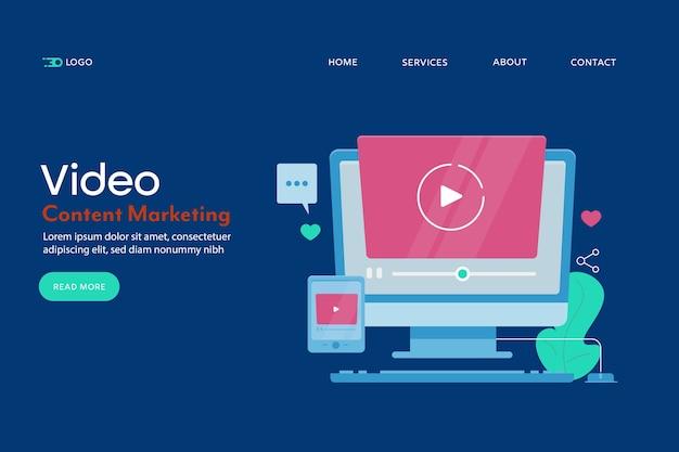 Page de destination conceptuelle de marketing de contenu vidéo