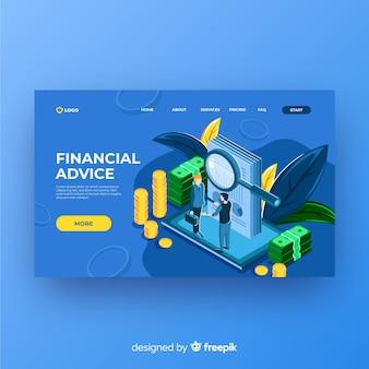 Page de destination des conseils financiers