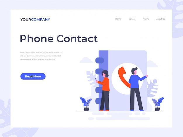 Page de destination des contacts téléphoniques