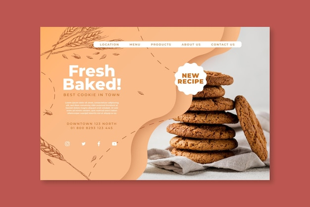 Page de destination des cookies cuits