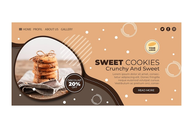 Page De Destination Des Cookies Vecteur gratuit
