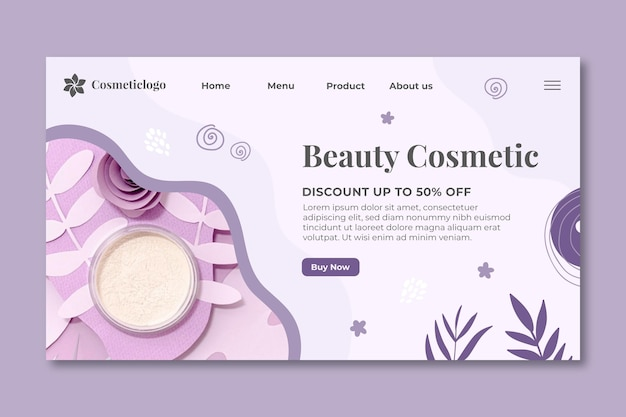 Page de destination cosmétique beauté