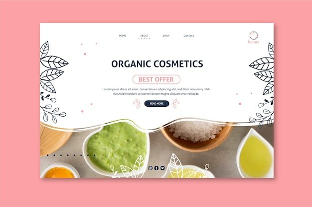Page de destination des cosmétiques naturels original essence