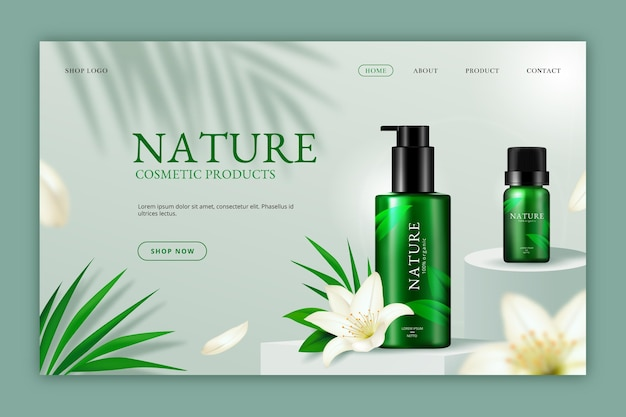 Page de destination de cosmétiques naturels réalistes
