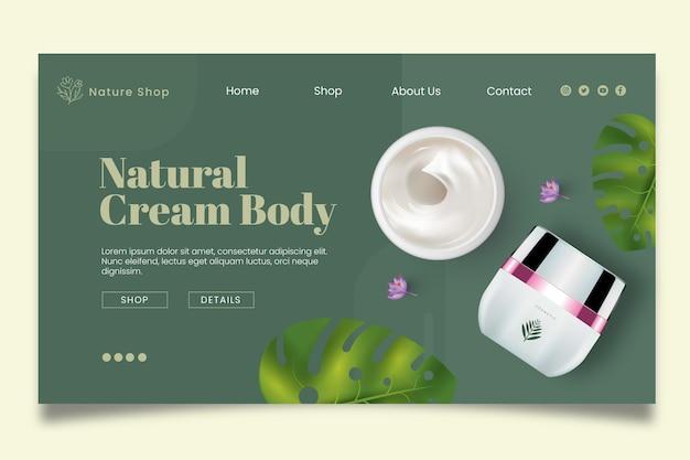 Page de destination des cosmétiques naturels