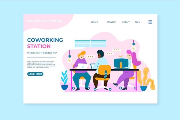 Page de destination de coworking dessinée à plat