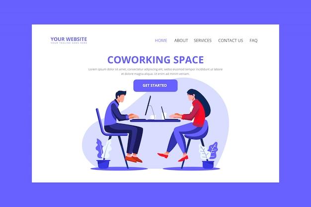 Page de destination de coworking