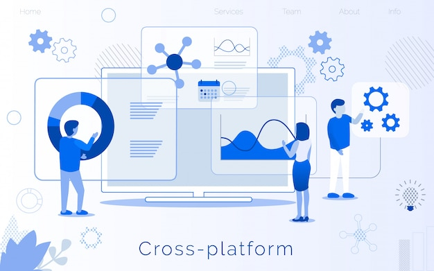 Page de destination de création de développement multi-plateforme