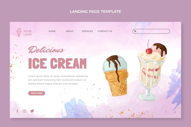 Page de destination de la crème glacée à l'aquarelle
