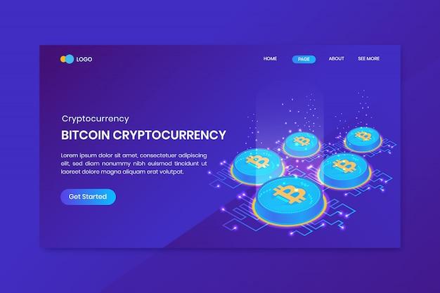 Page de destination de la crypto-monnaie bitcoin isométrique
