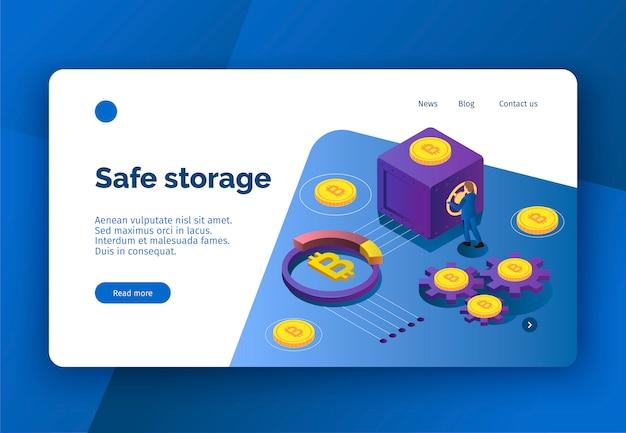 Page de destination de crypto-monnaie isométrique avec des bitcoins et une personne ouvrant une illustration vectorielle 3d sûre