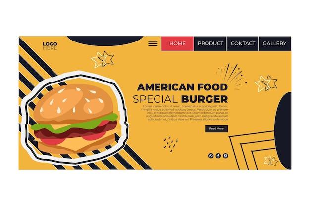 Page de destination de la cuisine américaine