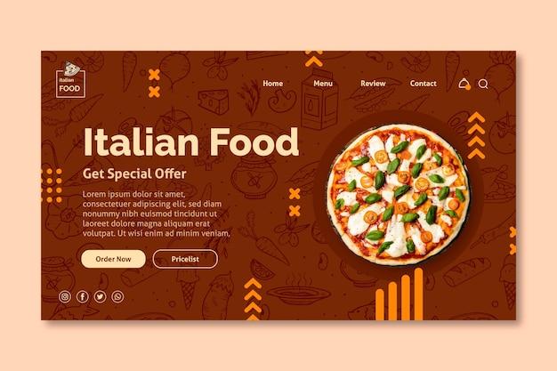 Page de destination de la cuisine italienne