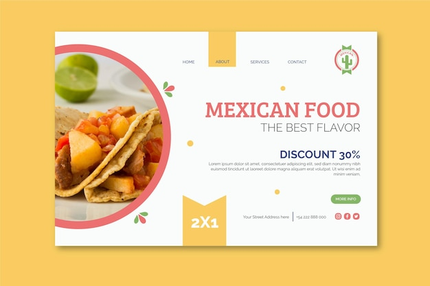 Page de destination de la cuisine mexicaine