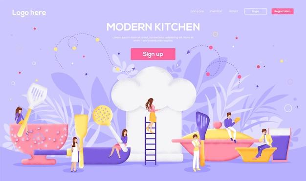 Page de destination de la cuisine moderne